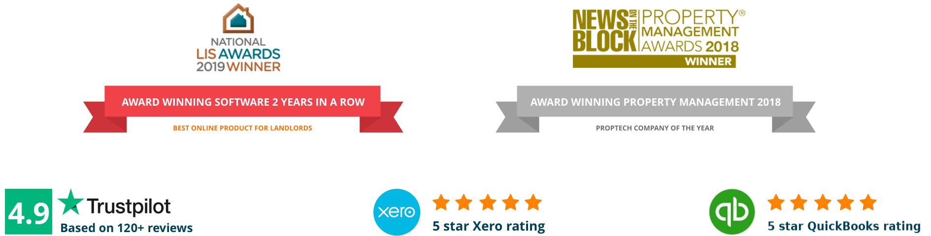 Trustpilot, Property management awards, Xero & Quickbooks
